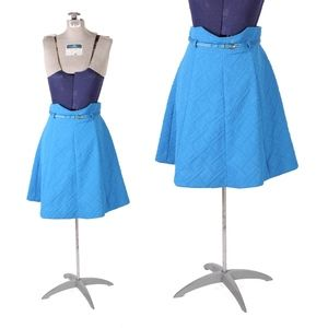 1960s Electric Blue High Waisted Belted Mini Skirt